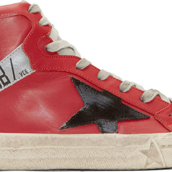 Red Leather High-Top 2.12 Sneakers