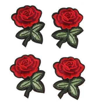 5pcs Red Rose Patches Beautiful Flower Pattern  Embroidery Cloth DIY Sewing Iron on Patch Apparel Sewing Accessories
