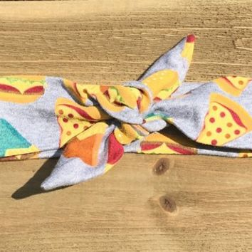 Junk Food Headband- Pizza Headband; Jersey Headband; Baby Headwrap; Baby Head Wraps; Tie Knot Headband; Girls Headbands; Top Knot