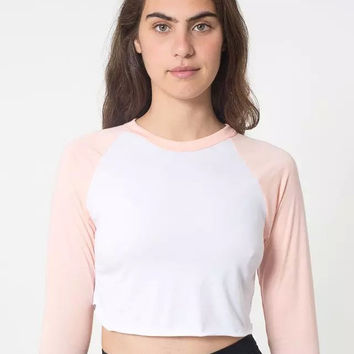 Summer Women's Fashion High Rise Crop Top Round-neck Slim Long Sleeve T-shirts [6515472583]