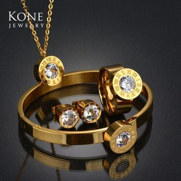 Famous Brand Roman Numerals Interchangeable Jewelry Set CZ Crystal Gold Color Stainless Steel Necklace Earring For Women Gift