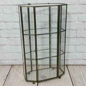 Vintage Bronze Vitrine Glass Display Case Shelf Jewelry Box