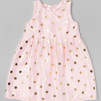 Pink & Gold Polka Dot Virginia Dress - Infant & Toddler