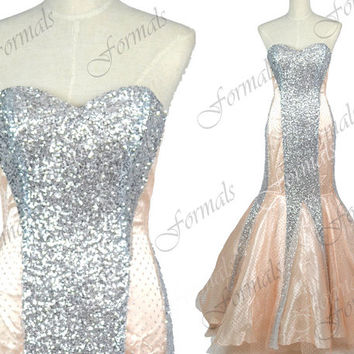 Mermaid Strapless Sequined and Tulle Champagne Evening Dresses, Sequined Prom Dresses, Formal Gown, Wedding Party Dresses
