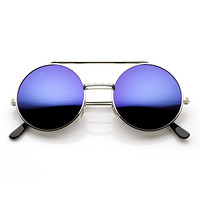 Steampunk Mirrored Lens Round Circle Flip Up Frame Sunglasses 8794