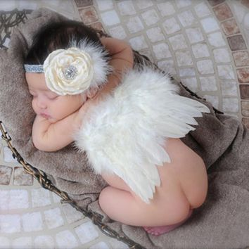 Newborn Photography Prop Sweet Lovely Baby Girls Feather Wing Angel Wings with Flower Hair Headband Toddler Clothes Costumes Set