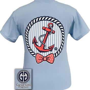 Girlie Girl Originals Collection Coral Anchor Bow Light Blue Bright T Shirt