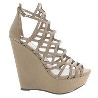 Vivi55 Natural By Breckelle's, Geometric Laser Cut Out Platform Wedge Heels