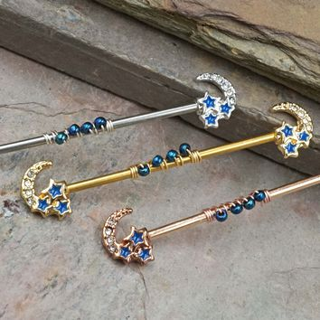 Silver, Gold or Rose Gold Moon Industrial Barbell