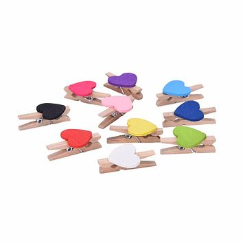 50pcs Love Heart Wooden Clip Bookmark For Album Message Stickers Student School Office Stationery Party Decoration