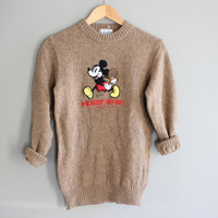 Classic MICKEY MOUSE Sweater Light Brown Japan Walt Disney Pullover 100% Wool Small Medium