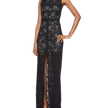 Gisela High-Neck Lace Contrast Gown, Size: