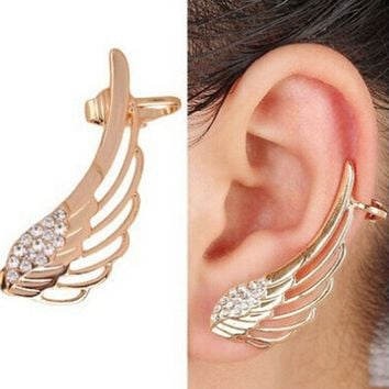 New Fashion Punk Rhinestone Clip Earrings For Women Angel Wing Gold Earring Ear Cuff Broncos Jewelry Drop Shipping