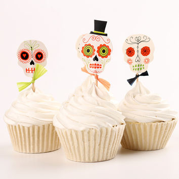 24pcs Halloween Skull Heads Theme Party Supplies Cartoon Cupcake Topper Pick Kid Birthday Party Decor