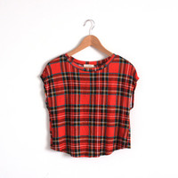 Vintage Crop Top Red Tartan Plaid Top Open Back Sleeveless Open Back Tee Xmas Red Tee Christmas Top Holiday Fashion Women Crop Top