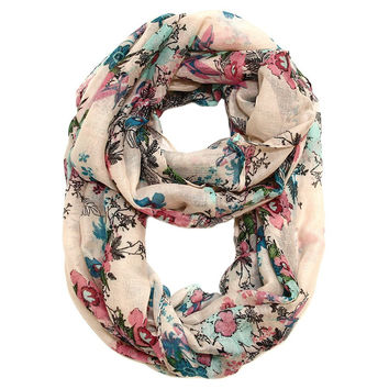 Tabitha Flower Infinity Scarf in Blush