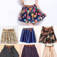 NEW Women Girl's Vintage floral flowers pleated tutu short mini skirts WITH BLET