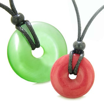 Large and Small Lucky Coin Donuts Amulets Love Couples Neon Green Cats Eye Cherry Red Quartz Necklaces