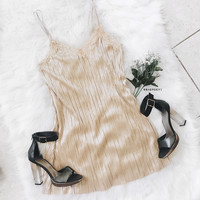 Finley Metallic Slip Dress (Gold)