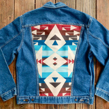 Vintage Levi's Denim Jacket w/ Red and Blue Jaquard Pendleton Wool Back.