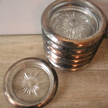 vintage cut glass and silverplate COASTERS .. 7 Shabby Chic starburst coasters Leanard