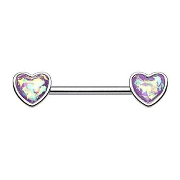 Glitter Opal Heart Inlay Nipple Barbell Ring 14ga Surgical Stainless Steel