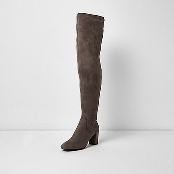 Grey over-the-knee block heel boots