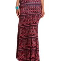 High-Waisted Tribal Print Maxi Skirt by Charlotte Russe - Navy Combo
