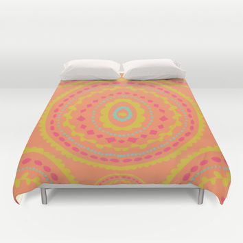 Orange Medallion Duvet Cover by Allyson Johnson