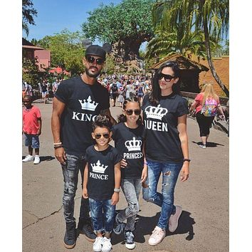 KING QUEEN PRINCE PRINCESS Family Couple Print T-shirts