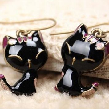 Black Cat Crystal Stud Earrings