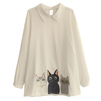 Long Sleeve Cat Print Hem Blouse
