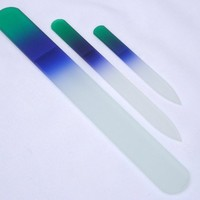 3 Piece, Genuine Czech, Etched, Crystal Glass Nail File Set, Green/Blue-Small, Medium, and Pedicure Files