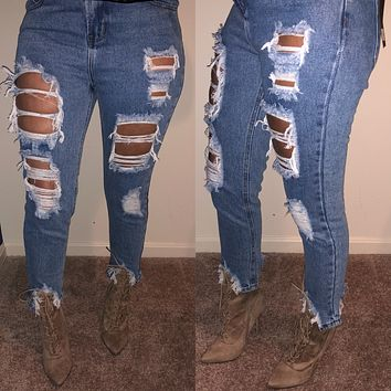 Destroyed Frayed Jeans