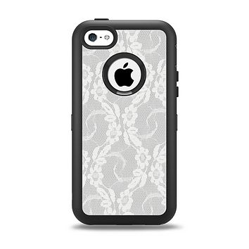 The White Floral Lace Apple iPhone 5c Otterbox Defender Case Skin Set