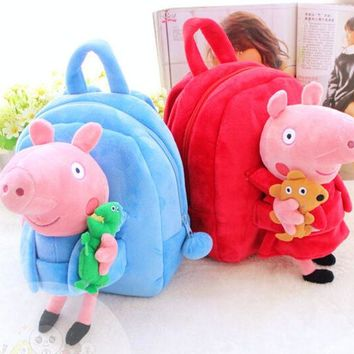 VONC1Y Gift for baby 1pc 25cm cartoon small smile pig animal plush doll backpack shoulder bag Satchel boy girl toy