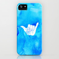 Surf Hang Loose Hawaiian Ocean Blue Hip Watercolor iPhone & iPod Case by Girly Road