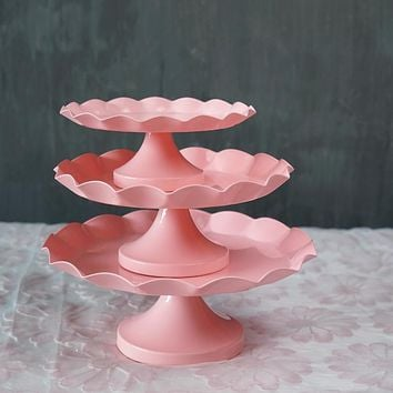 SWEETGO Pink cake stand cupcake tray metal iron cake tools waterproof dessert plate bake tool candy decoration  party bakeware