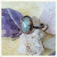 Aquamarine Solitaire OOAK Electroformed Electroplated Copper Statement Rings sz. 7 Bohemian Chic Gemstone Healing Metaphysical Jewelry