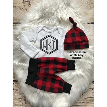 bc44ed9e70db2 Monogrammed Plaid Baby Boy Coming Home Outfit