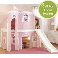 Princess Castle Low Loft Twin Bed in Pink