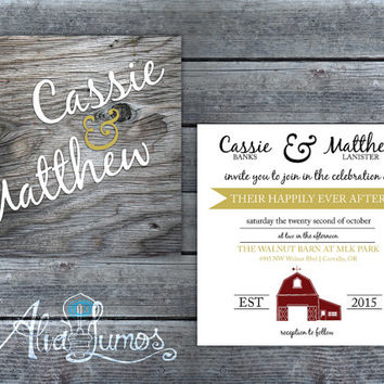 Country wedding invitation, Outdoor Barn Wedding Invitation suite, Rustic wedding invitation, country wedding suite, wedding stationary