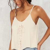 Low Tie Lace-Up Top