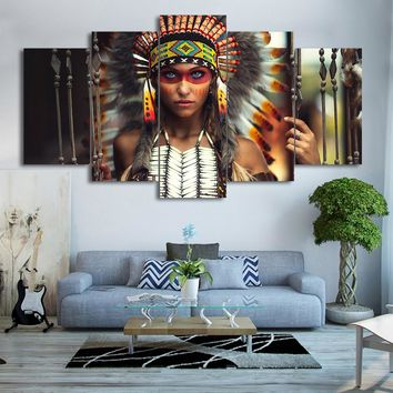 Modern Frames For Painting Modular Cheap Pictures 5 Panel Indian Feather Girl Wall Art For Living Room Home Decor Artwork Canvas