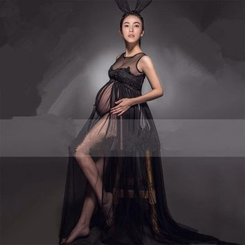 Maternity Photography Props Pregnant Photo Shoot Long Lace Chiffon Dress For Pregnancy Maternity Clothes For Pregnant Women PO12