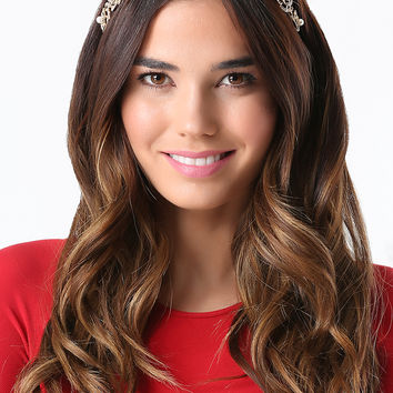 bebe Womens Crystal Flower Headpiece Ivory Gold