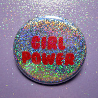 Holographic glitter Girl Power 90s feminist pin back button- feminism button- feminist pin- rainbow hologram