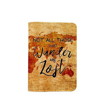 Not All Those Who Wander Are Lost Vintage World Map Leather Passport Holder - Passport Protector - Passport Cover - Passport Wallet_SUPERTRAMPshop