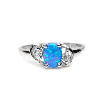 Sterling Silver Blue Oval Opal CZ Accented Ring