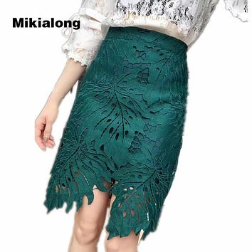 Mikialong Leaves Embroidery Lace Skirt 2017 Summer New Womens Pencil Skirts Ladies High Waist Knee Length Vintage Midi Skirt